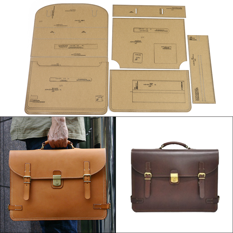 1Set Kraft Paper Leather Men's Handbags Briefcase Template Home Handwork Leather craft Sewing Pattern Tools