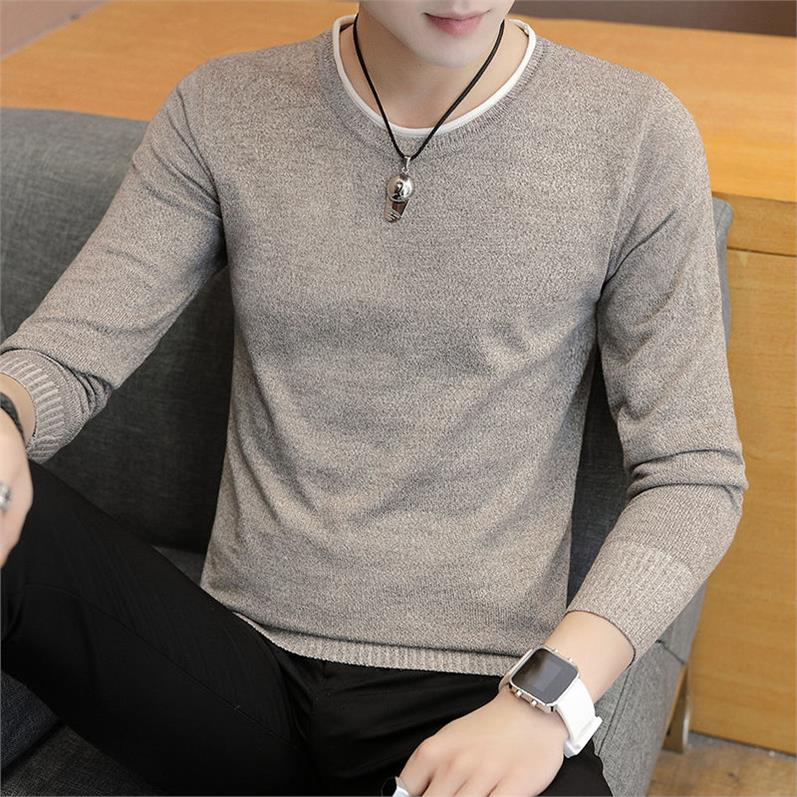 OLOEY Pure Color Knit Sweater Male O Neck Men Long Sleeve Winter Man Sweater Pullover Long Sleeve Camisola Homem