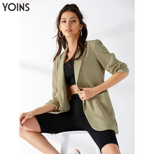 YONIS 2019 Autumn Winter Women Office Blazers Lapel Collar Pockets Long Sleeves Casual Work Slim Fit Blusas Coat Jackets