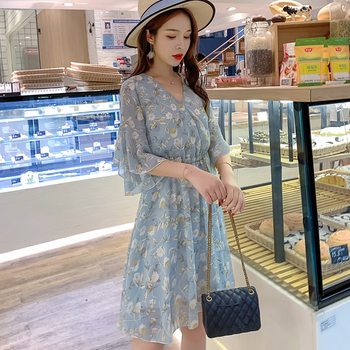 women floral printed chiffon V-neckmidi dress half sleeve pleated elegant slim 2020 summer causual high waist vestidos de vera 1