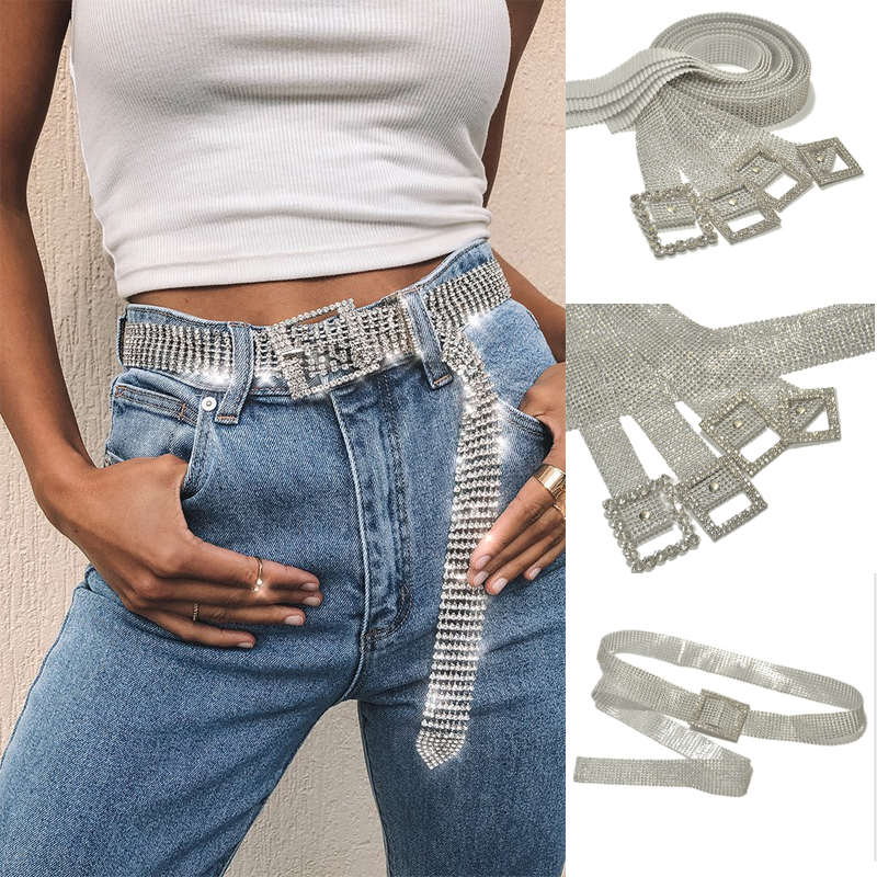 Hot Fashion Women Shiny Belt Waist Chain Crystal Diamond Alloy Waistband Full Rhinestone Luxury Wide Party Belt