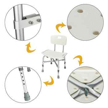 Heavy-duty Aluminum Alloy Elderly Bath Chair with Backrest Non Slip Disabled Home Older Pregnancy Shower Chairs Toilet Stool