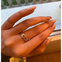 Anillo elegante Chapado en Color dorado con forma de cadena de 7mm de ancho para Unisex Vintage gótico grueso Midi anillo joyas antiguas accesorio