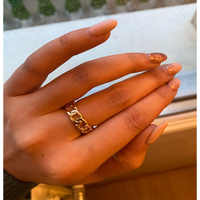 CHIC GOLD COLOR PLATING CHAIN SHAPE RING 7MM WIDE 17MM DIAMETER RING FOR UNISEX