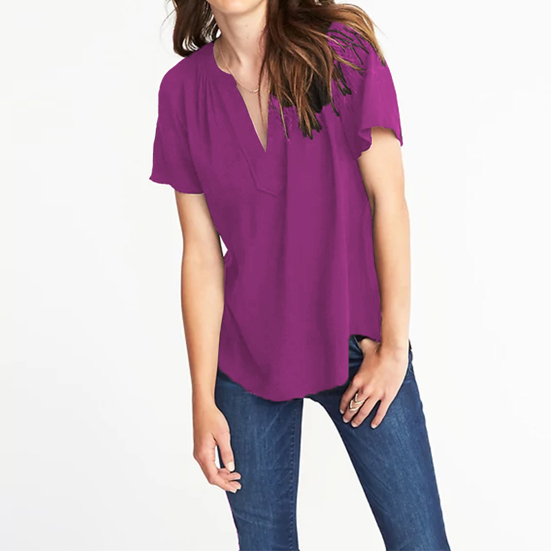 2020 ZANZEA Fashion Women Linen Blouses Short Sleeve Solid Tunic Tops Casual Sexy V-Neck Pleated Shirts Plus Size Ladies Blusas