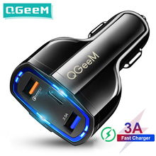 QGEEM QC 3.0 USB C Car Charger 3 Ports Quick Charge 3.0 Fast Charger for Car Phone Charging Adapter for iPhone Xiaomi Mi 9 Redm