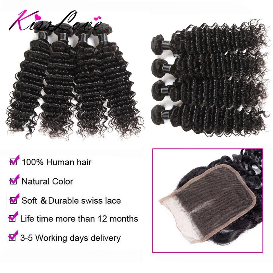 H32b52a910e8843b5bb6b963ba5dfa3083 Kiss Love Brazilian Hair Deep Wave Bundles With Closure Human Hair Weave Bundles With Closure 3 Bundles With Lace Closure