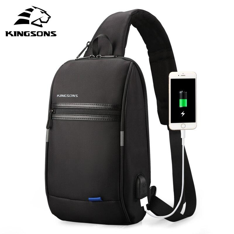 Kingsons Single Shoulder Bag For Men Messenger Bag Male Chest Bag Waterproof Small Crossbody Bag 10,.1 Inch Laptop Bag W/ USB