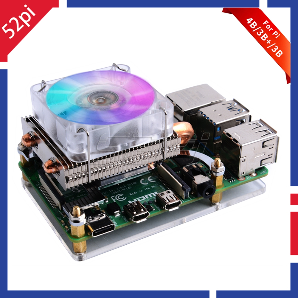 52Pi Low-Profile Ice Tower Cooling Fan Metal Case 7 Colors RGB Changing LED Light With Bracket For Raspberry Pi 4 B / 3B+ / 3B