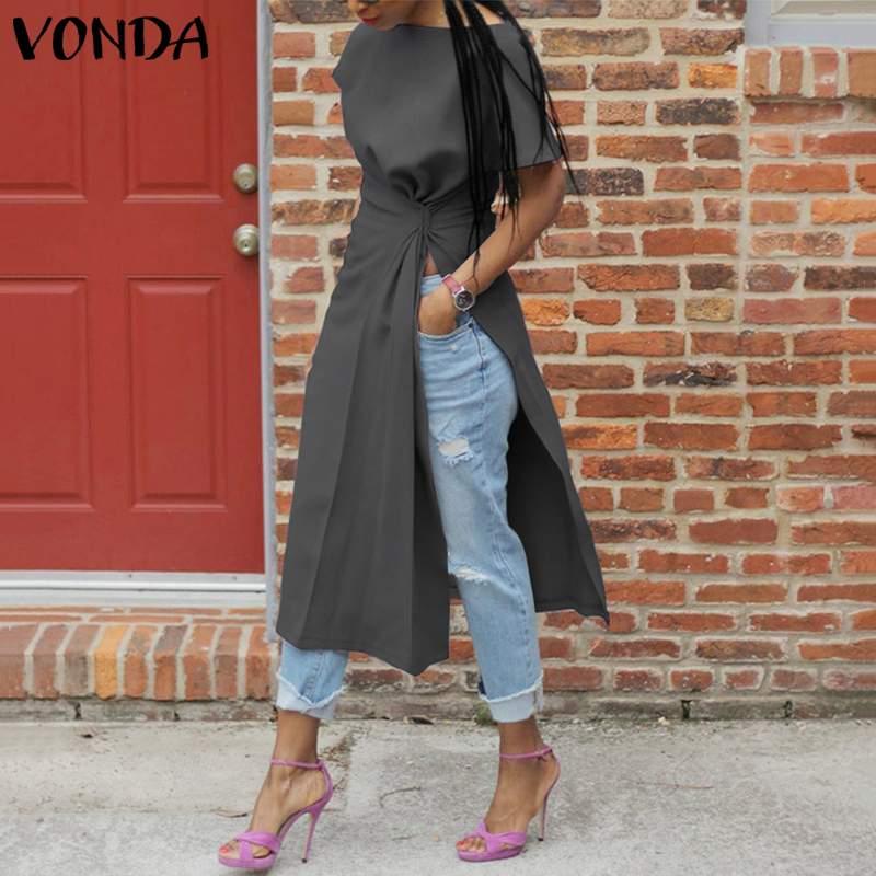 Short Sleeve Sexy Split Shirts Women Asymmetrical Blouse 2020 VONDA Fashion Tops Female Casual Blusas Femininas Plus Size Shirts