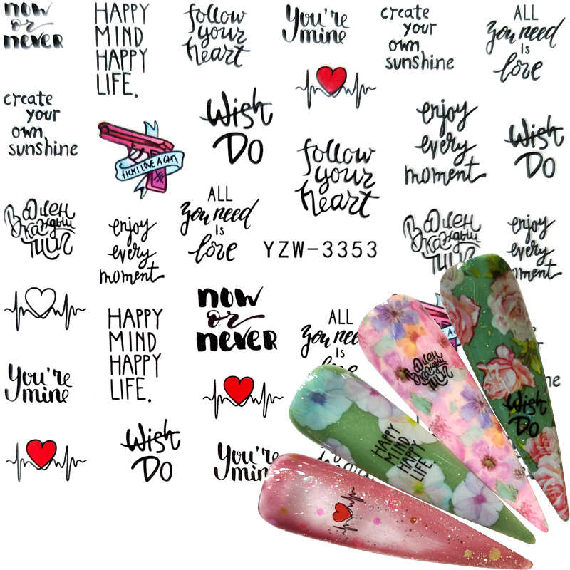 Yzwle 2020 1 Vel Bladeren Nail Water Transfer Decals Sliders Stickers Voor Nagels Art Zwarte Letters Ontwerpen Folies Decoraties