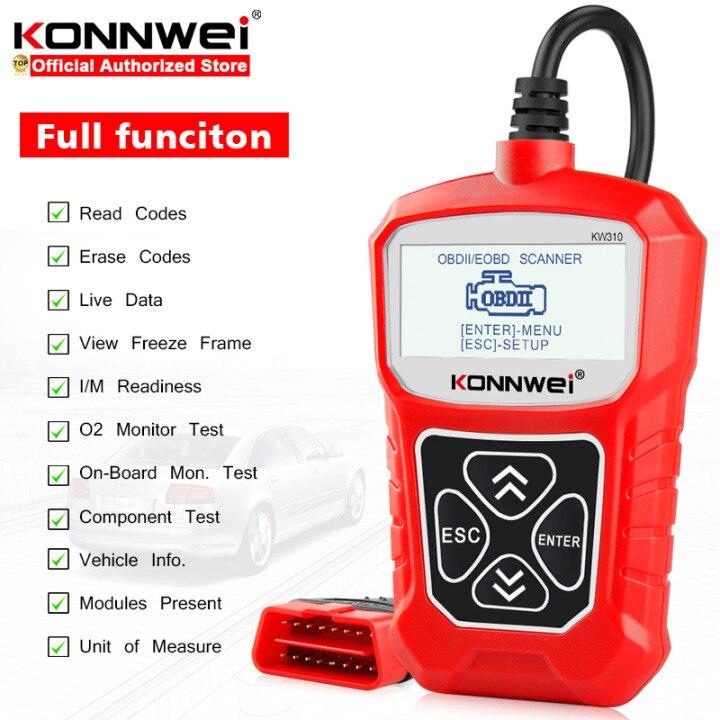 Сканер KONNWEI KW310 OBD ODB2, универсальный инструмент для диагностики автомобиля, профессиональный считыватель кодов двигателя для автомобиля ELM327