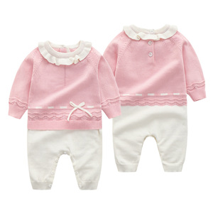 Image 4 - 신생아 가을 니트 Romper 아기 소녀 아기 옷 긴 소매 jumpsuituits 복장 3 캔디 색상 뜨개질 유아 의상