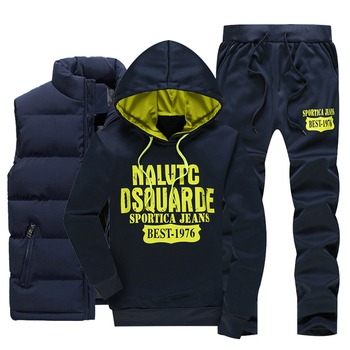 Men Warm Sport Track Suit 3 Pieces Sets Winter Sportsuit 2020 New Thermal Hoodies Sets Male Fleece Windproof Gym Run Sportswear 1