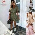Модное женское летнее однотонное платье-трапеция, дизайнерское облегающее мини-платье с оборками и поясом, V-образным вырезом, рукавом до ло...