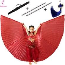 11 colores alas de danza del vientre Isis alas de Bollywood Oriental Egipto alas de disfraz con bolso de palos para niños adultos