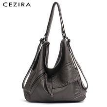 CEZIRA Women Washed PU Backpack Luxury Soft Vegan Leather Shoulder Bags Functional Large School Bag Female Chic Rivets Knapsacks