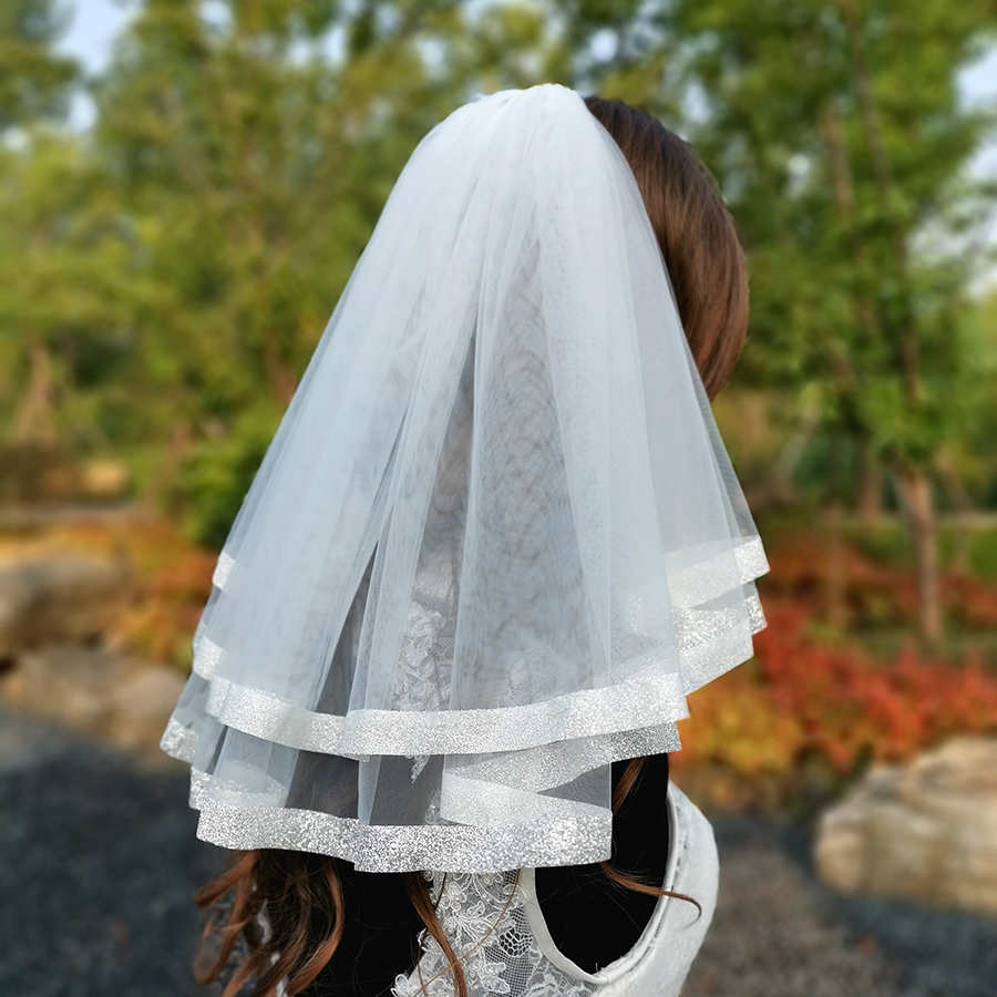 Short Woman Bridal Veil Soft Tulle Ivory Simple Two Layers Wedding Veils With Shiny Edge Wedding Dress Accessories With Comb