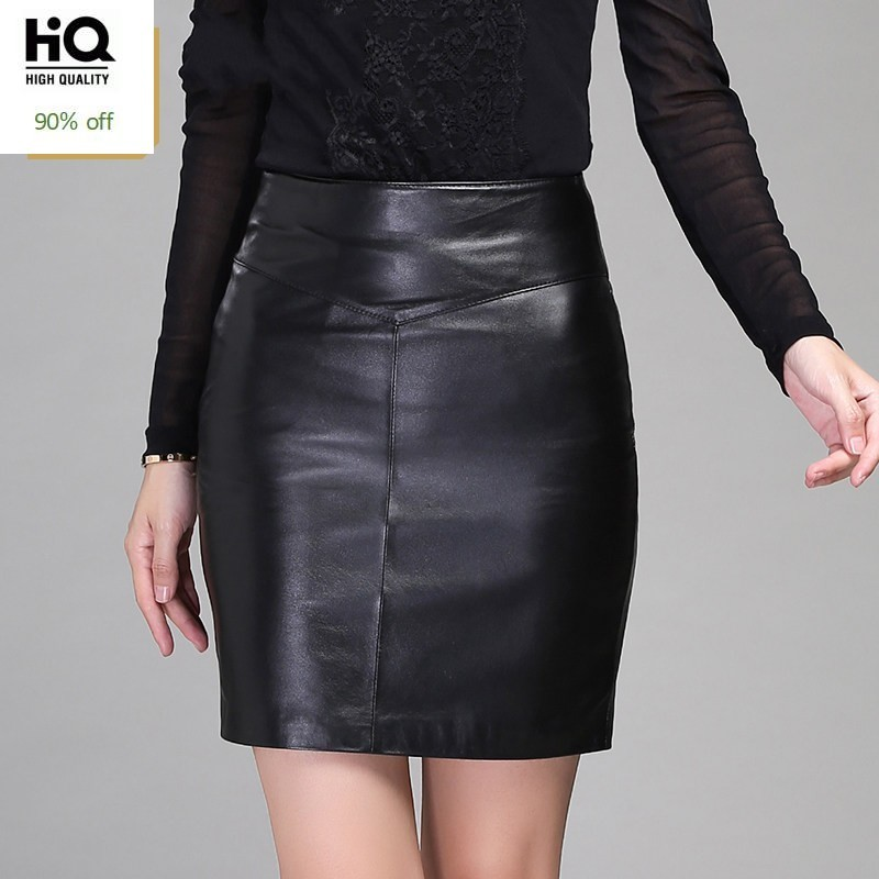Office Lady Genuine Leather Wrap Skirts Womens Winter High Waist Mini Leather Skirt Elegant Solid Black Zipper Fly Skirt Female
