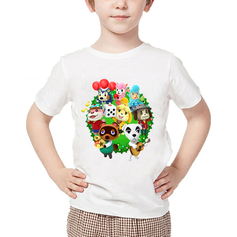 2020 Summer Funny Cartoon T-Shirt For Boys Girls Casual White Animal Crossing Tops Tshirt Baby T Shirt Harajuku Boy T-Shirt