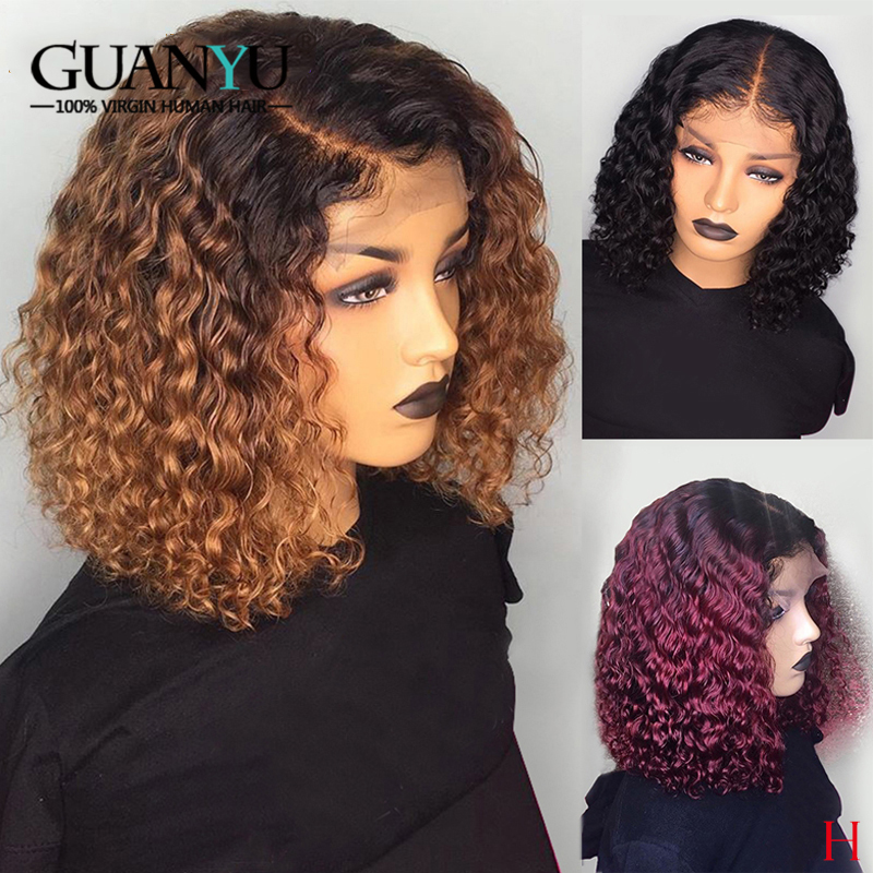 Burgundy Curly Bob Wig Human Hair 150% Density Brazilian Remy 13X4 Ombre 1B 99J Honey Blonde Lace Front Wig