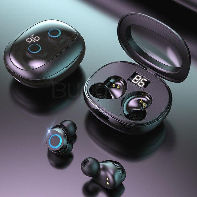 9d 스테레오 미니 무선 블루투스 이어폰 (마이크 터치 컨트롤 포함) 블루투스 헤드폰 안드로이드 용 슈퍼베이스 헤드셋