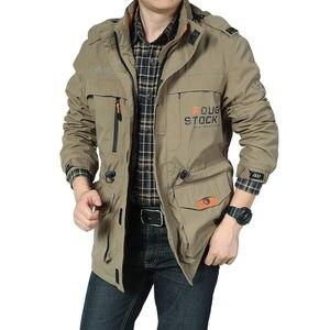 Image 3 - Nowa kurtka Bomber mężczyźni jesień zima multi pocket wodoodporna kurtka taktyczna wojskowa czapka wiatrówka mężczyzna płaszcz odkryty z kapturem