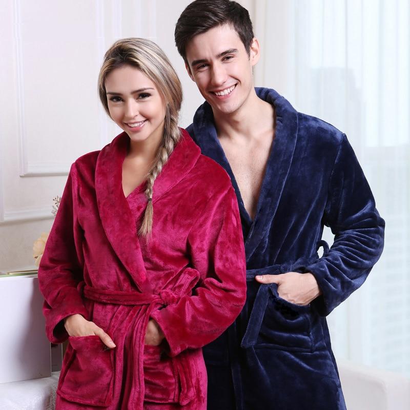 On Sale Men Women Luxury Winter Bathrobe Mens Warm Silk Flannel Long Kimono Bath Robe Male Bathrobes Lovers Night Dressing Gown