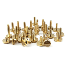 10pcs Solid Brass M3 Slotted Screws Flat Head Bolts Leather craft Belt screw Studs Wallet Fasteners  8mm/10mm cap more size