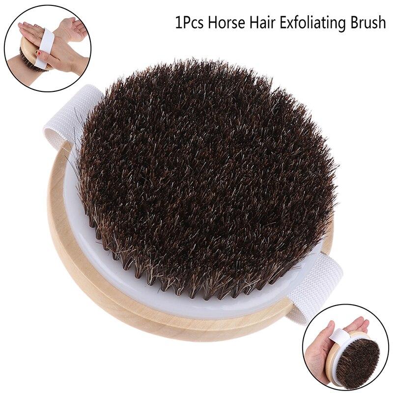 1PCS Wood Natural Horse Hair Bath Body Brush Dry Skin Brushing Body Massage Brush Cellulite Shower Exfoliation