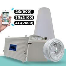 2G 3g 4G трехполосный сигнальный Усилитель GSM 900+(B1) WCDMA 2100+(B7) FDD LTE 2600 мобильный телефон сигнальный повторитель мобильного Сотовая связь Усилитель Kit