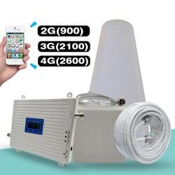 2G 3G 4G Tri banda amplificador de señal GSM 900 + (B1) WCDMA 2100 + (B7) FDD LTE 2600 teléfono móvil repetidor de señal de telefonía móvil celular Kit amplificador