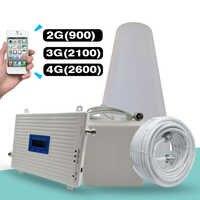 Amplificateur de Signal Tri bande 2G 3G 4G GSM 900 + (B1) WCDMA 2100 + (B7) FDD LTE 2600 répétiteur de Signal de téléphone portable Kit d'amplificateur cellulaire Mobile