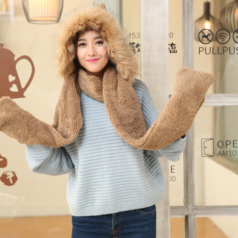 Cute Plush Hooded Scarf Hat Pocket Gloves 3 In 1 Warm For Women Winter Outdoor K2