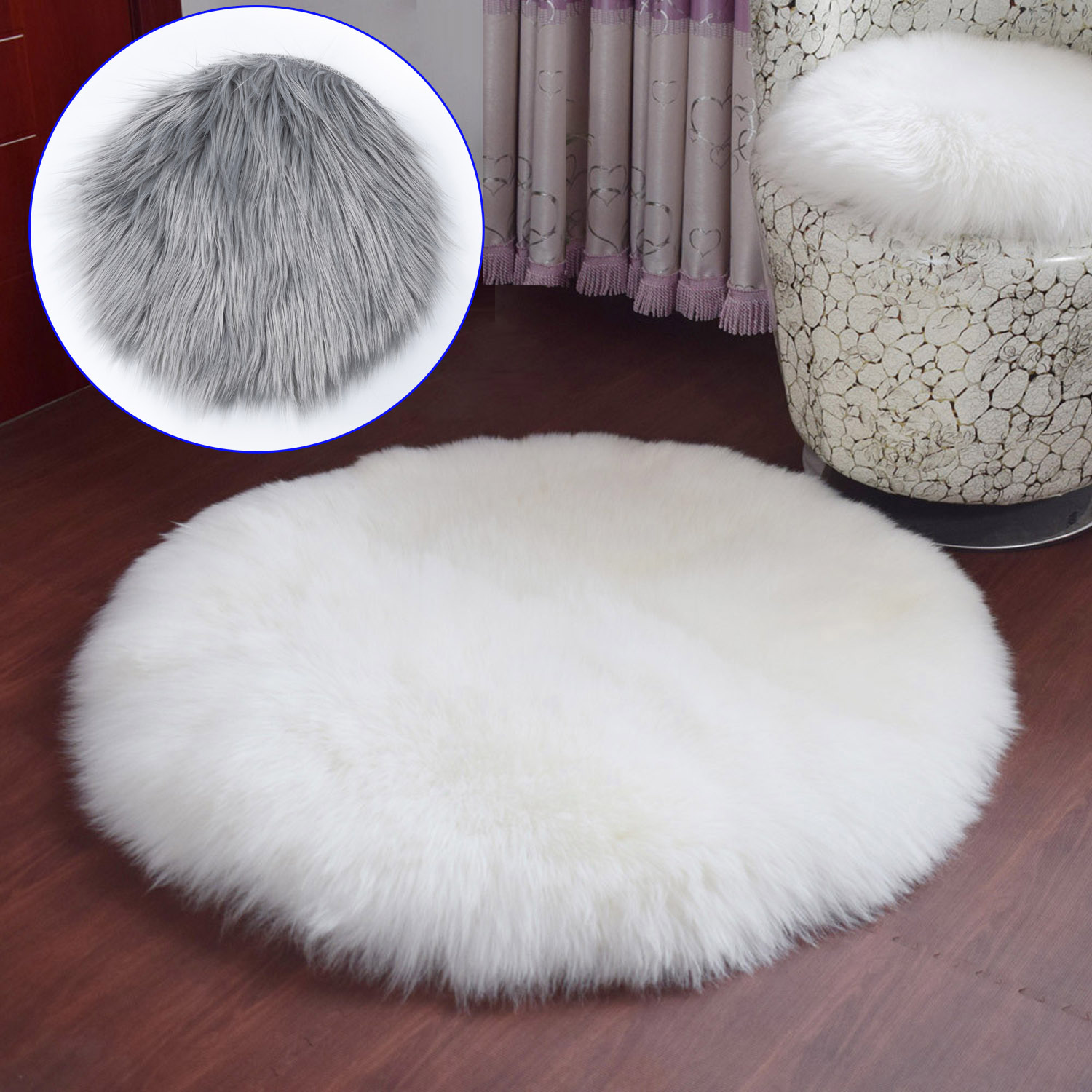 Soft Faux Fur Rug Household Bedroom Warm Mat Sofa Chair Desk Pad Round Carpet House Supply