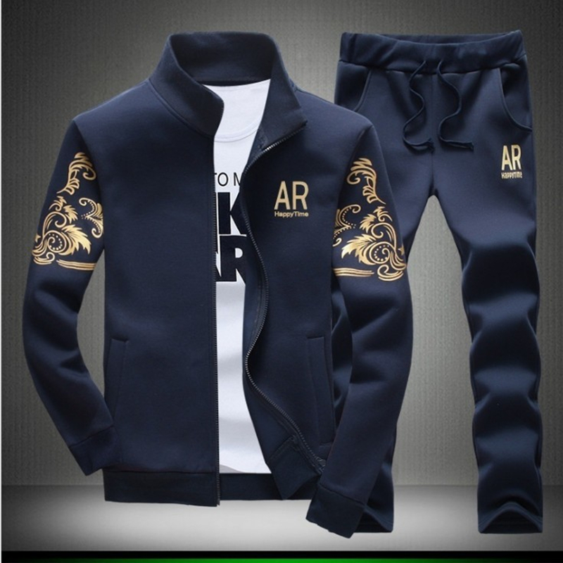 OLOME Tracksuits Men Autumn Sports Set Mens Fashion Embroidery Printed Sweatshirt + Pants Men's Track Suit Sportswear Fitness