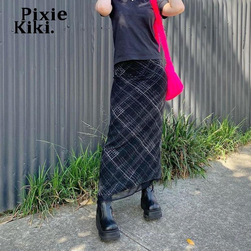PixieKiki Fée Grunge Imprimé À Carreaux Jupe Longue Noire E Fille Indie Harajuku Y2k Vêtements Double-couche Maille Jupes P67-CG22