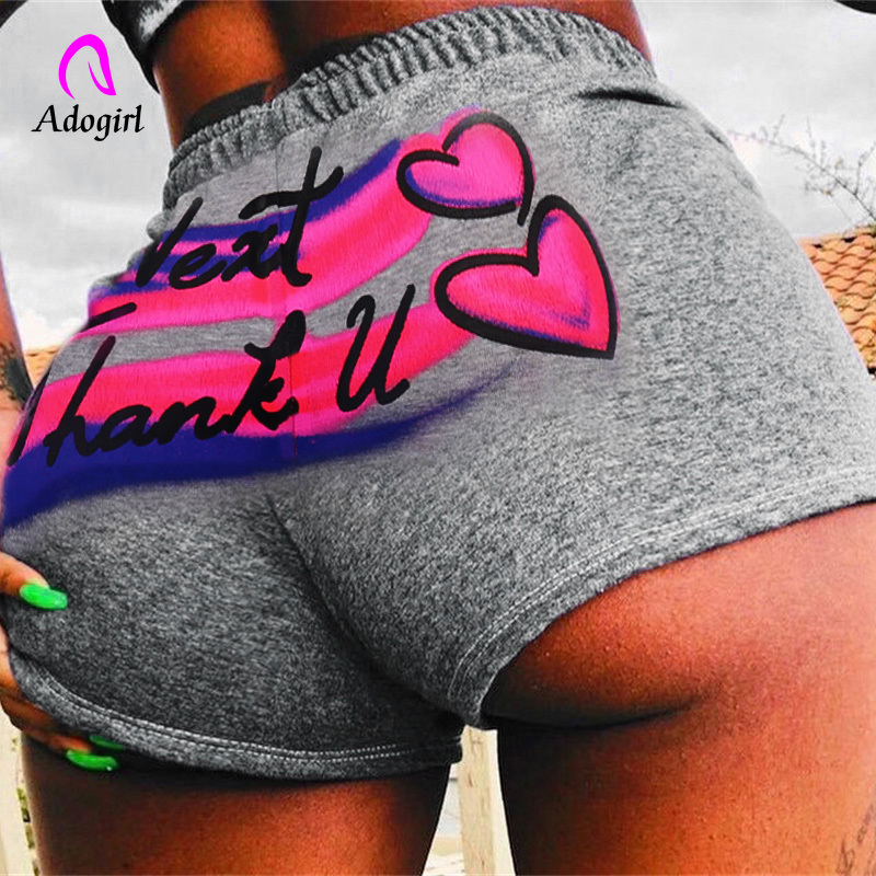 Fitness Gray Letter Print Elastic Waist Shorts Sporting Sexy Cotton Ladies Summer Streetwear Party Club 2020 Casual Women Shorts