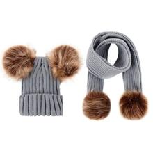Родитель-Детские шапочки милый младенец помпон зимние наборы шарф шапка натуральный мех мяч шапки мать дети теплые вязаные шапки бини