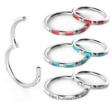 1pc completo cz gem anel sem costura aro cor de prata 16g 6-10mm anel sem costura hoop moda feminina jóias titânio aço