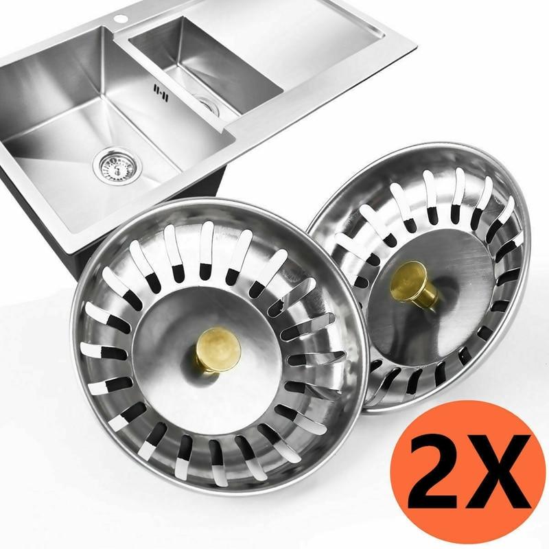2x Kitchen Waste Filter Basket Stainless Steel Sink Strainer Plug Drain Stopper