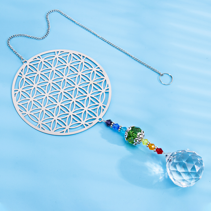 H&D Rainbow Maker Crystal Flower Of Life Suncatcher Yoga Hanging Ornament Souvenir Home Window Decor For Wealth, Prosperity,Gift