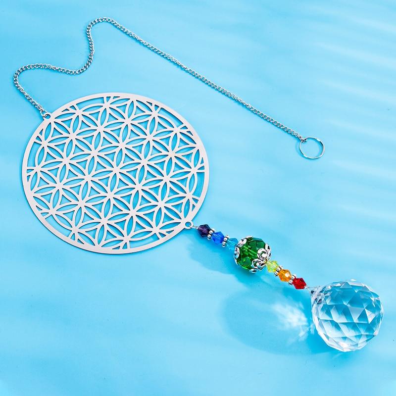 H&D Rainbow Maker Crystal Flower Of Life Suncatcher Yoga Hanging Ornament Souvenir Home Window Decor For Wealth, Prosperity,Gift