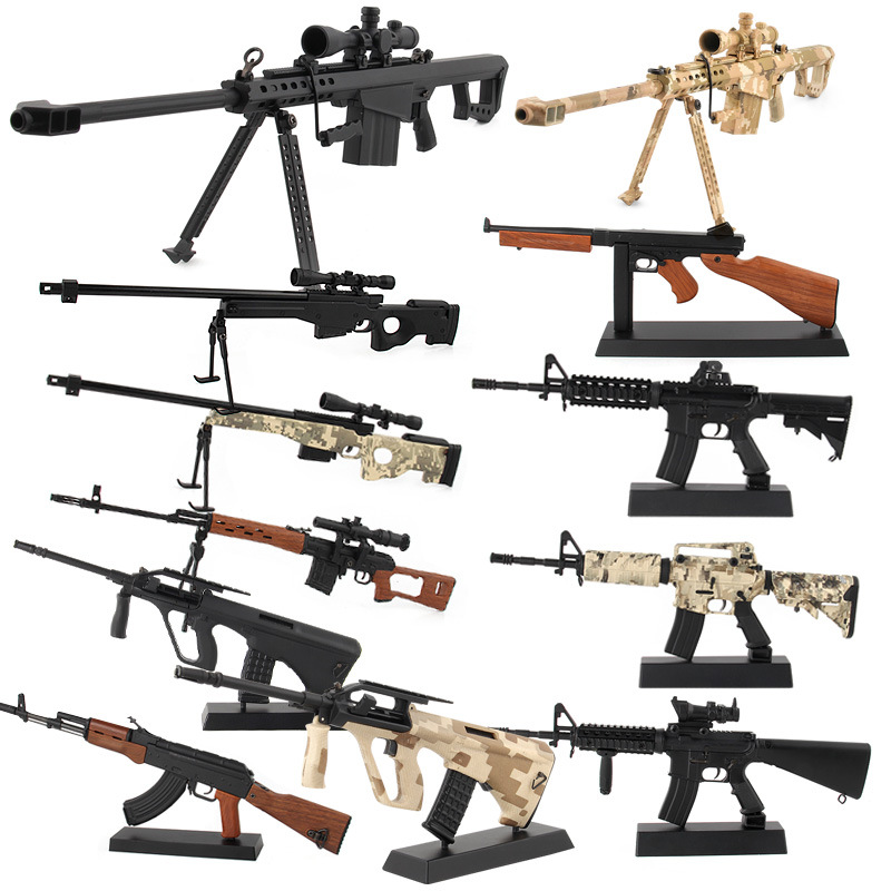 Amazon Hot Selling Model Military Famous Gun Alloy Firearms Model Toy-Dismantling Assembly Miniature 1:3. 5