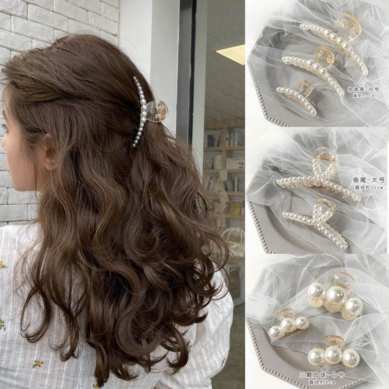 Headwear Barrettes Hairpin Hair-Accessories Crab Pearl Elegant 47-Styles Ruoshui Fashion