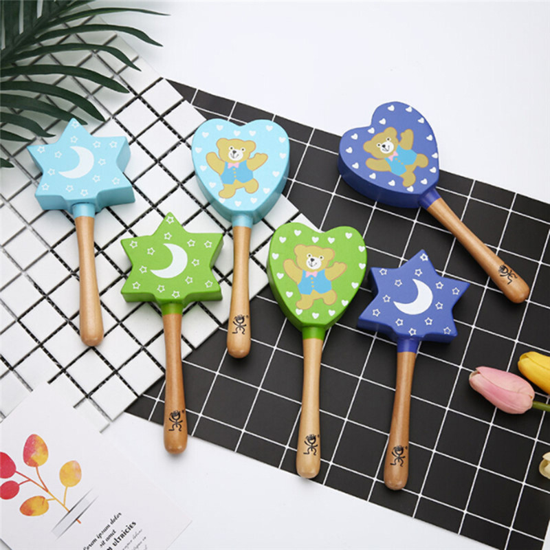 Intelligence Grasping Games Hand Bell Rattle 1pc Wood Baby Rattles Toy Funny Educational Mobiles Toys Birthday Gifts For Kids