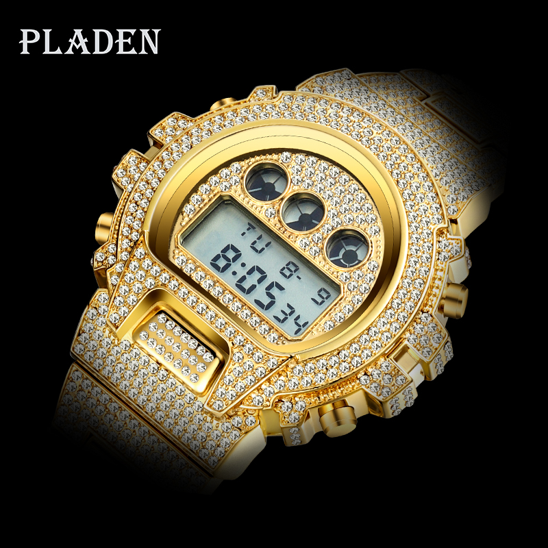 Dropshipping 2020 Original PLADEN Digital Gshock Watch For Men Luminous Japan Movt 18k Gold Wrist Watch AAA Diamond Sport Watch