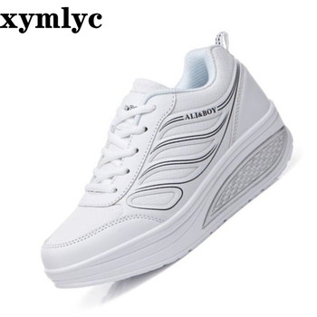 Women's shoes Korean Wedge sneakers thick bottom outdoor running casual shoes solid color round head comfortable single shoes PU europe america new mesh breathable sneakers women s solid color round head shallow mouth casual thick bottom laceup single shoes