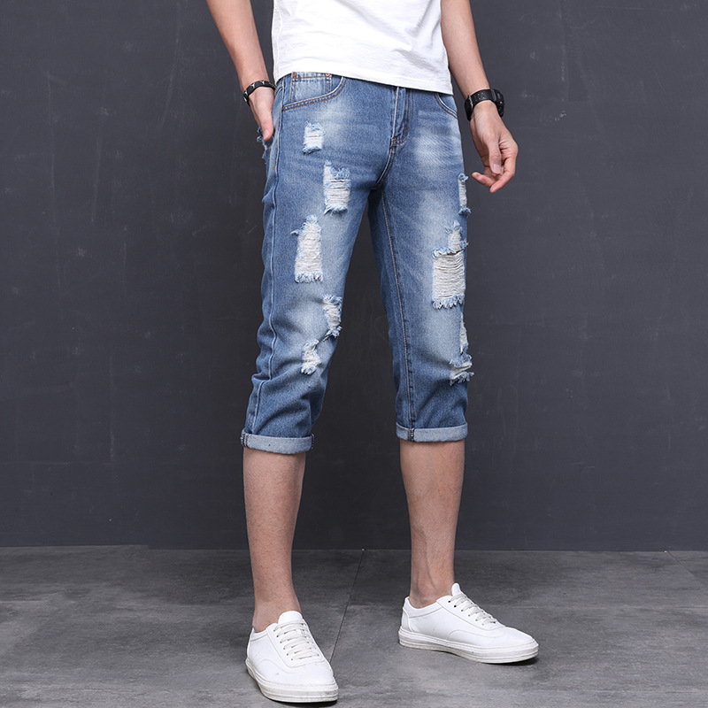 Summer Days Thin Korean-style Capri Jeans Men's Trend With Holes Men Capris Slim Fit Skinny Pants Shorts Men's