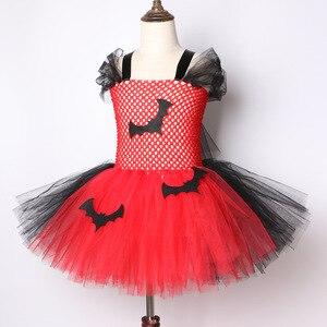 Image 2 - 2019 Vestido Tutu Vermelho E Preto do Bastão de Vampiro Trajes de Halloween Para Crianças Meninas de Carnaval Vestido de Festa Na Altura Do Joelho comprimento de Tule vestidos de Tutu